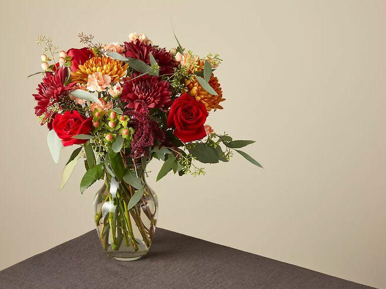freshly cut flowers in a glass vase
