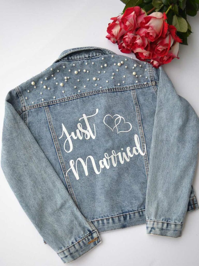 "Pearl embellished ""Just Married"" bride jean jacket"
