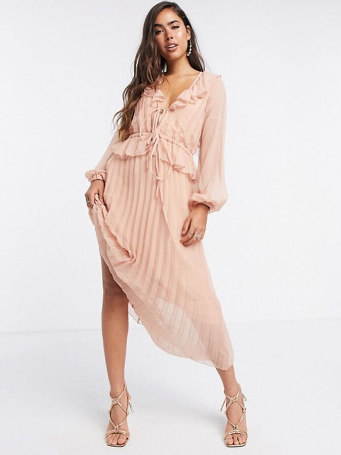 Blush pink midi dress with ruffles and pleated skirt