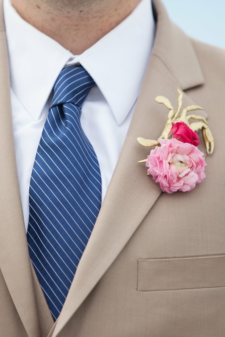 Nautical Peony Boutonniere with Gold Crab Charm