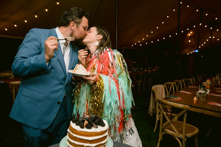 Bride in Fringe Jacket for Dancing at Michigan Wedding