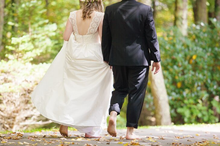For fun, the couple decided to get married barefoot, but Eli slipped a shoe on before smashing the glass during their Jewish ceremony.