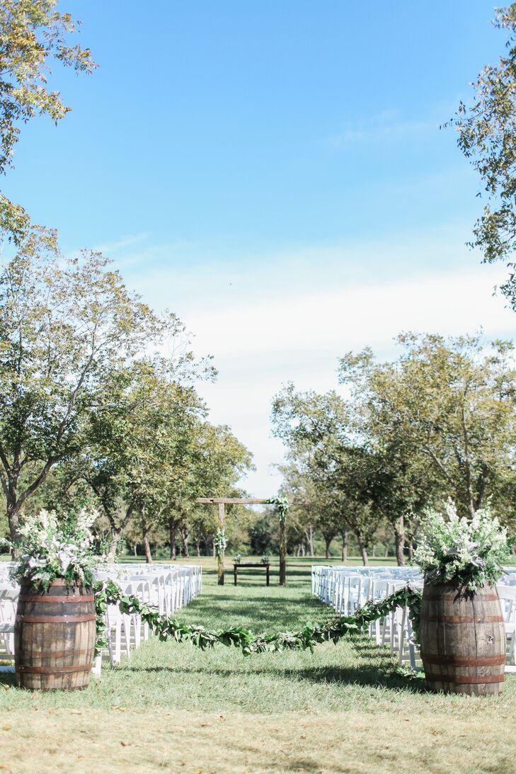 Rustic Wine Barrel Aisle Decorations