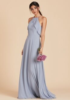 Birdy Grey Jules Chiffon Dress in Dusty Blue Halter Bridesmaid Dress