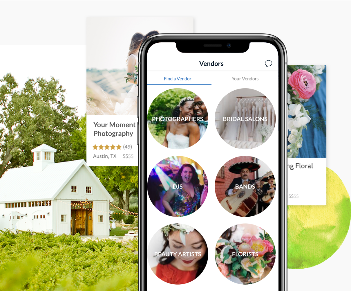 Pick Your Wedding Vendors on The Knot App