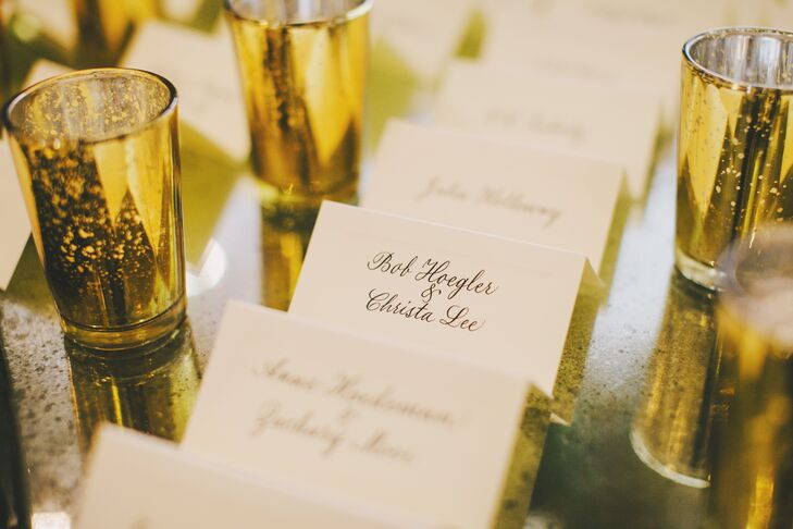 Ivory Escort Cards and Gold Shot Glasses