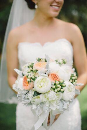 Romantic Peach and White Peony Wedding Bouquet