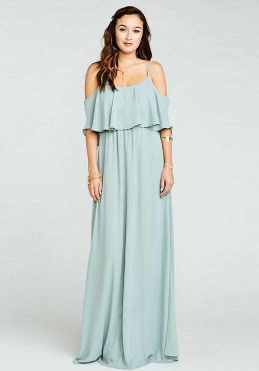Show Me Your Mumu Caitlin Ruffle Maxi Dress Silver Sage Crisp Scoop Bridesmaid