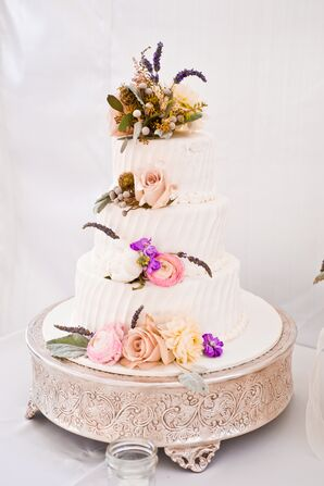 Three-Tiered Floral Decorated Cake