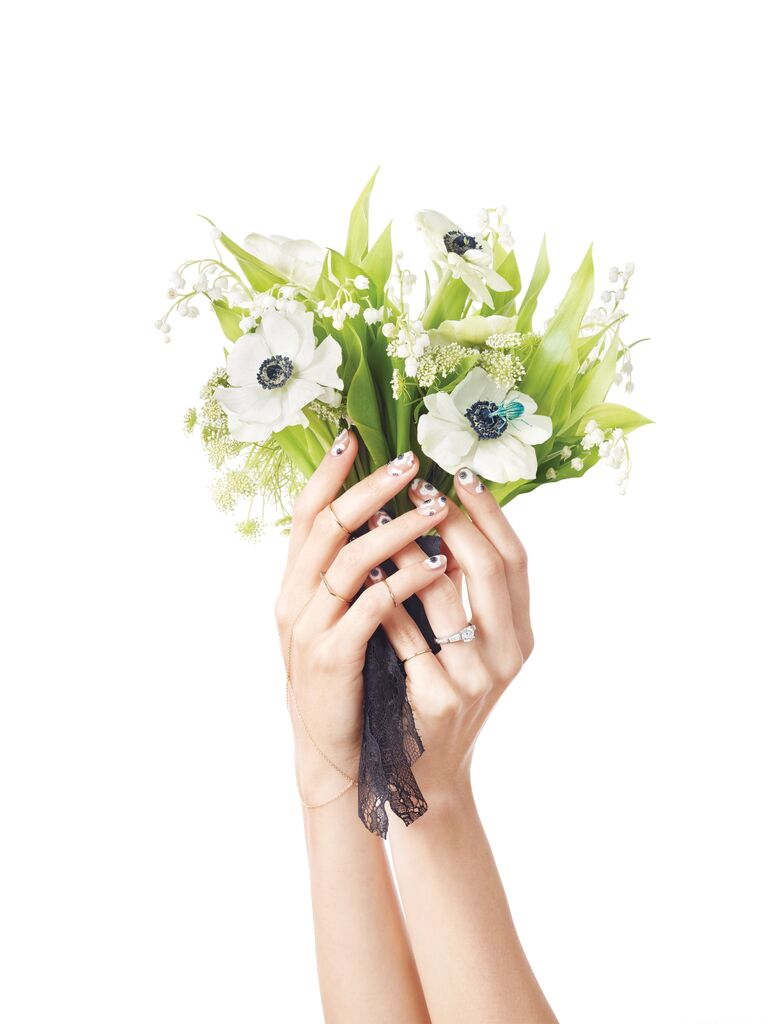 Bridal manicure inspiration that matches your bouquet wedding bouquet with lily of the valley and anemones izmirmasajfo Choice Image