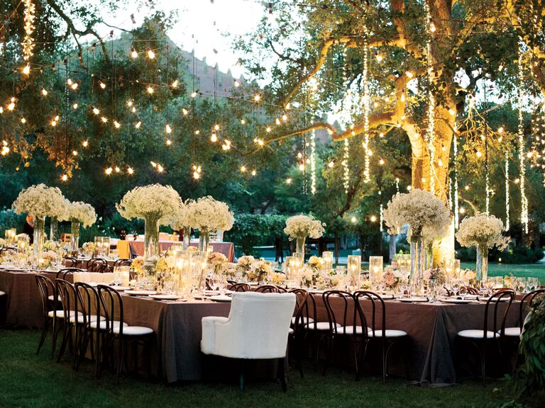 Wedding reception lighting basics hanging lights over outdoor wedding reception junglespirit Choice Image