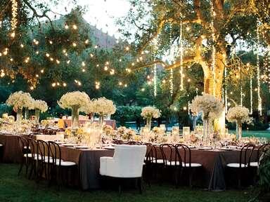 Hanging lights over outdoor wedding reception