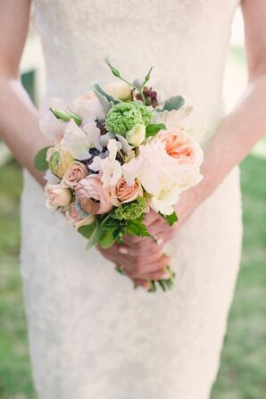 Timeless Peach Peony and Garden Rose Bouquet