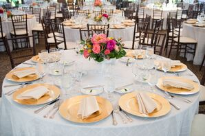 Gold Flatware and White Tablecloths