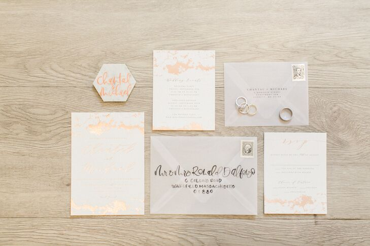 Eclectic Invitation Suite with Gold Foil Marble Design