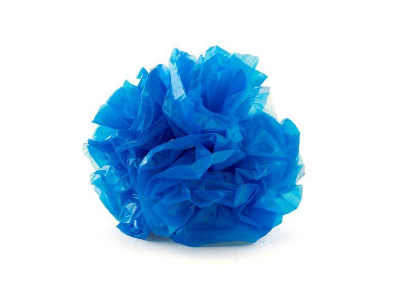 Blue pom poms for wedding car decoration