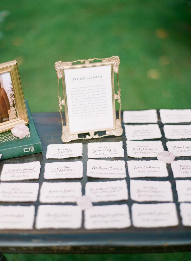 Torn Paper Calligraphy Escort Card Display
