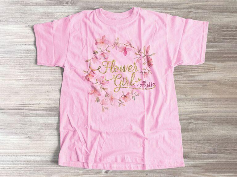 Pink flower girl tee gift
