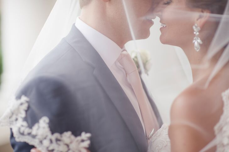 The classically romantic feel was carried through in a palette of blush pink and postal blue.