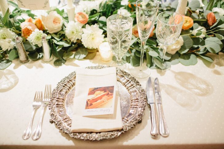 Silver Charger Plates at Elegant Reception