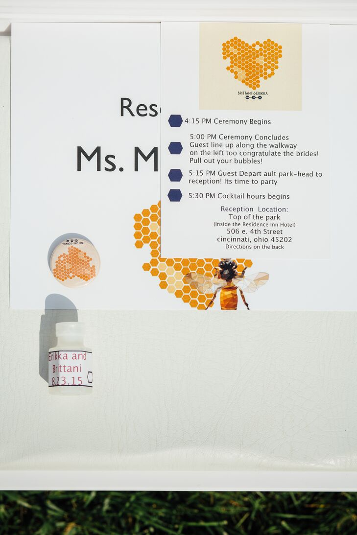 """Since the first initials of Brittani's and Erikka's names are """"BE,""""  the couple went with a honeycomb/bee hive theme for the invitations and programs."""