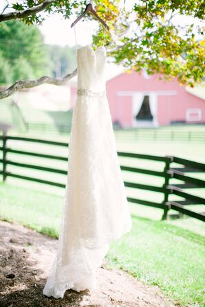 Lace Wedding Dress with a Rhinestone Belt