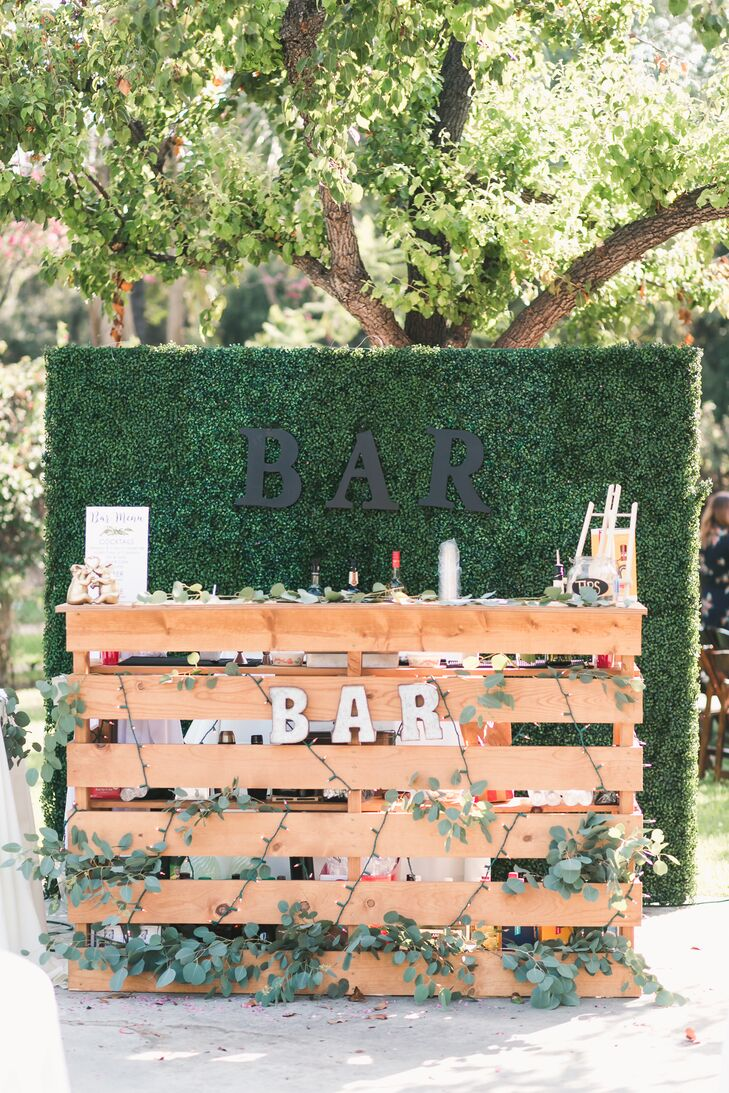 Wood Pallet Bar with Eucalyptus Garland