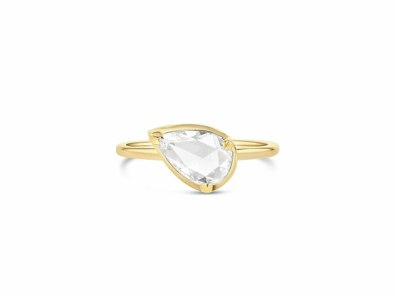 Pear rose cut ring in yellow gold