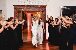 Same-Sex Brides Enter Reception Under Shower of Confetti
