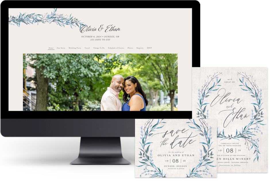 Blue Natural Laurel wedding website design with matching paper suite