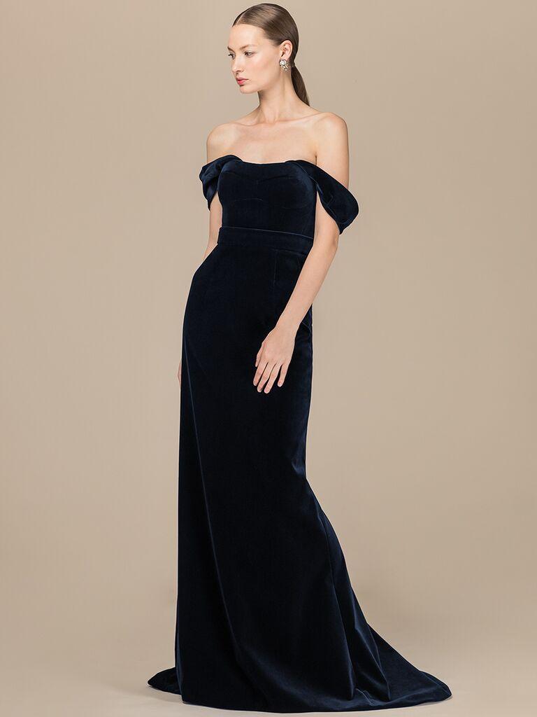EDEM Demi Couture navy off-the-shoulder dress