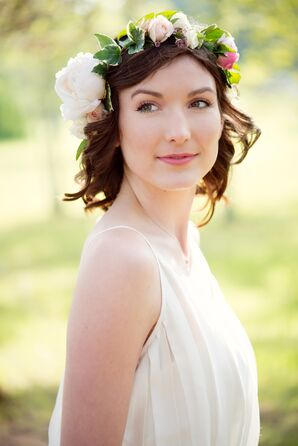 Short Curly Hairstyle with Bohemian Floral Crown