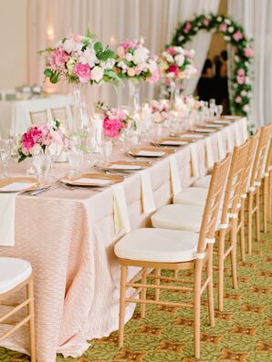 Textured Blush Linen Head Table With Gold Chiavari Chairs