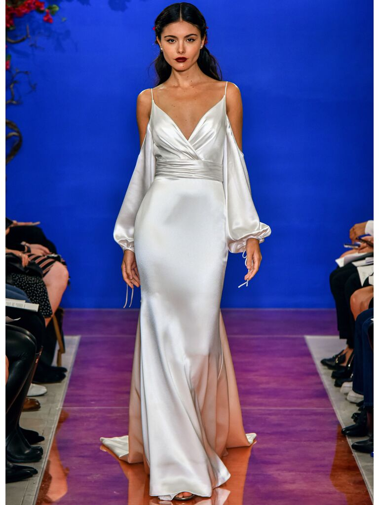 theia wedding dress silk statement sleeves