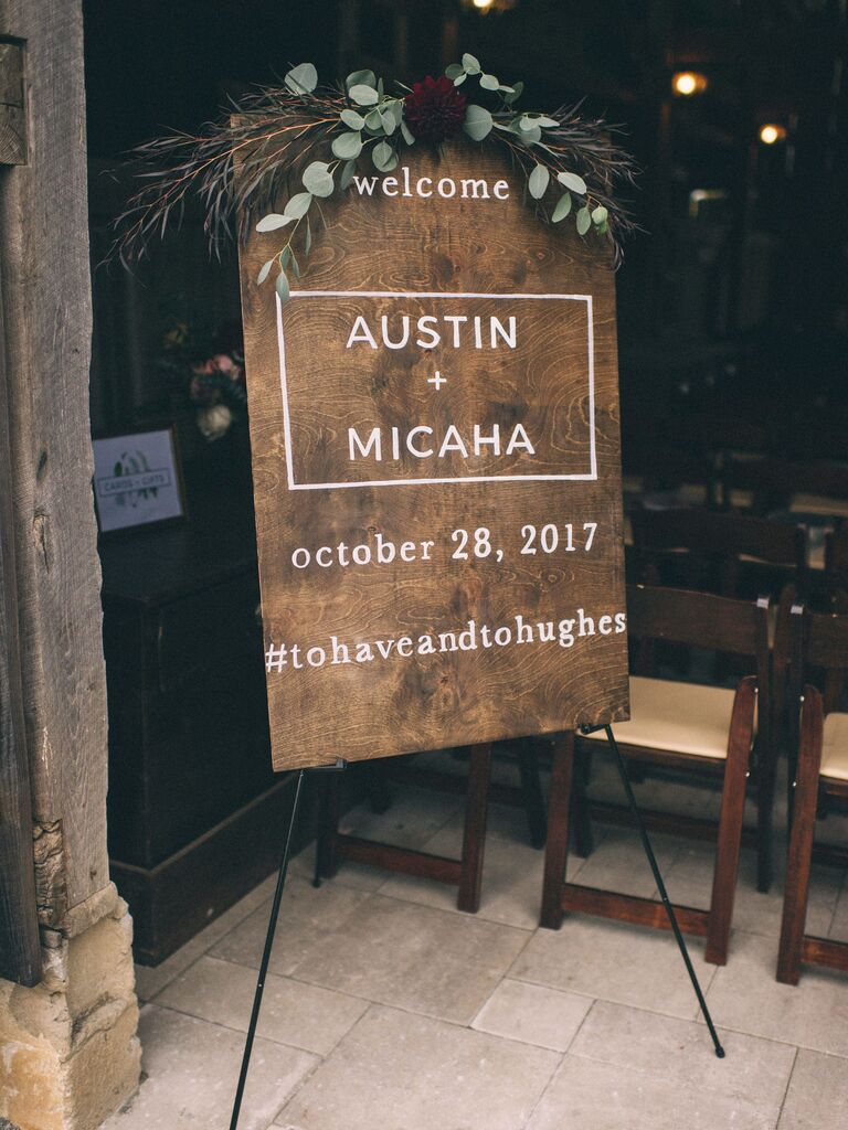 modern wood wedding sign