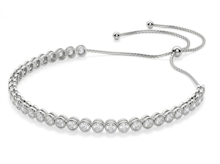 Diamond bracelet silver 25th anniversary gift