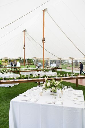 Natural Tented Wedding with Long and Square Tables