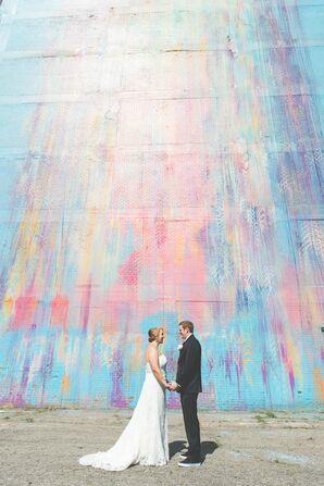 Detroit Mural Wedding Photo