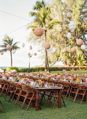 Tropical Outdoor Wedding Reception in Kapalua, Hawaii