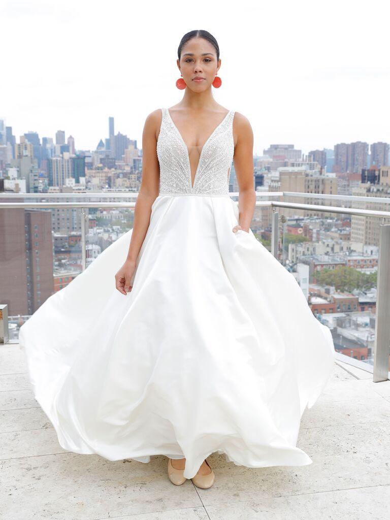 3e8140dd8e Maggie Sottero Spring 2019 sleeveless wedding dress with illusion V-neck  and full skirt