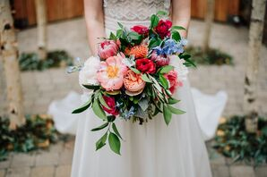 Lush, Colorful Bouquet of Roses, Peonies and Proteas