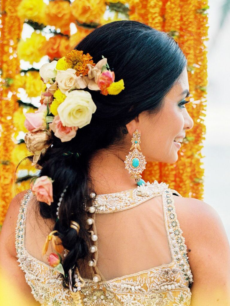 wedding updos braid with colorful flowers