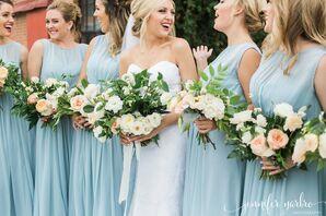 Pale Blue Chiffon Bridesmaid Dresses