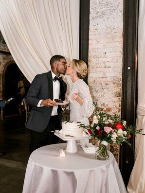 Elegant Couple with Single-Tier Wedding Cake