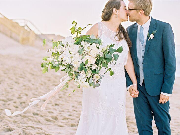 White Scabiosa, Eucalyptus-Leaf Garden-Inspired Bridal Bouquet