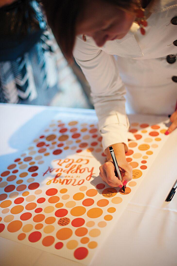 Modern Orange Polka Dotted Guest Book