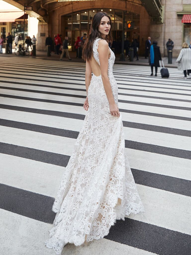 Bliss Monique Lhuillier​ sexy backless wedding dress