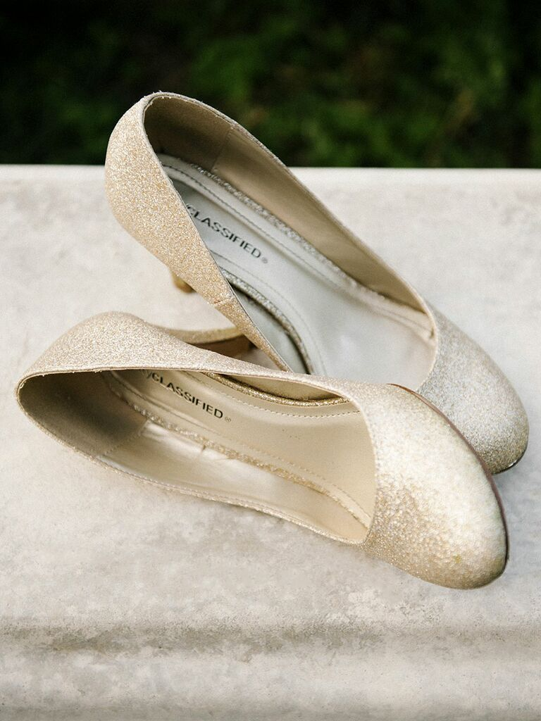 Sparkly gold wedding shoes high heels