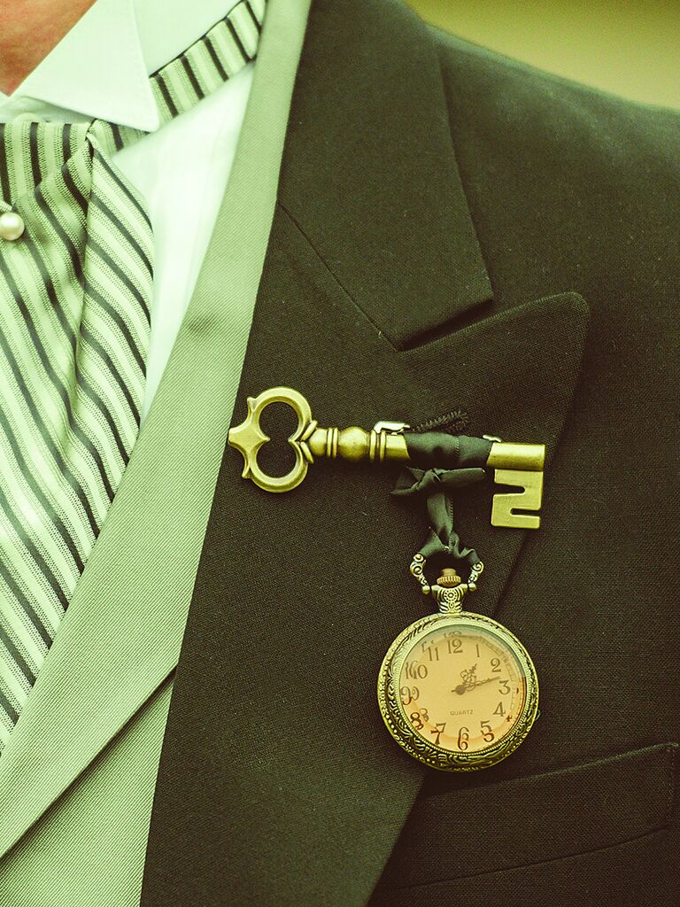Pocket watch and antique key boutonniere