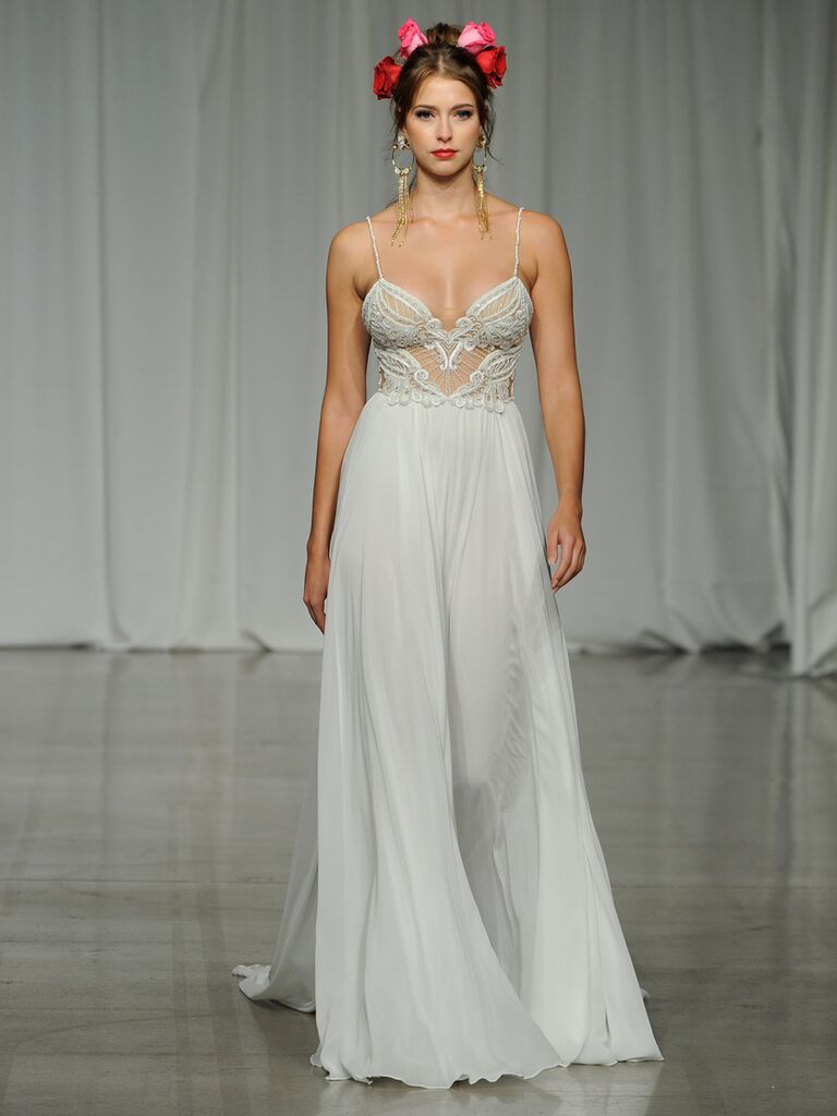 Julie Vino Spring 2019 A-line wedding dress with an embroidered bodice and spaghetti straps